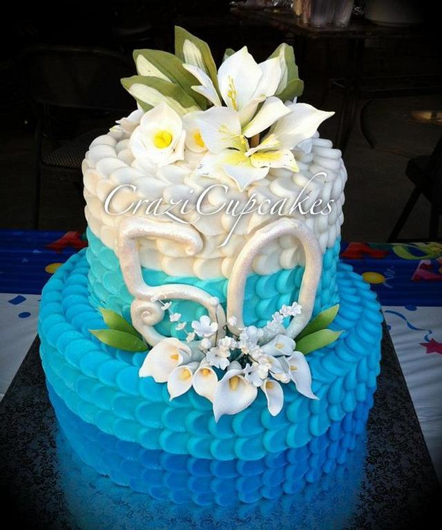 Ombre Petal 50th Birthday cake!