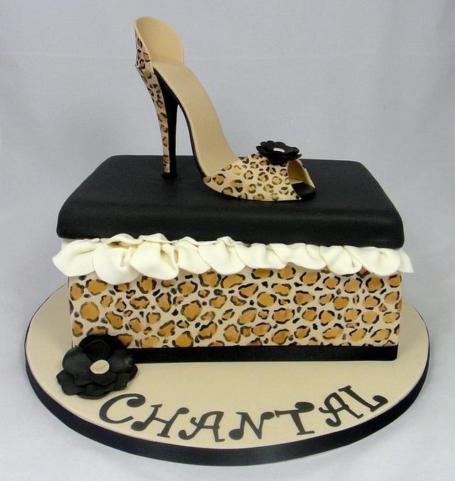 Super Leopard Print High Shoe Shoe Box Cake Cake By Ceri Cakesdecor Funny Birthday Cards Online Elaedamsfinfo