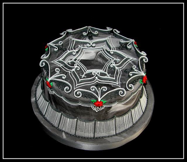 Black & White Royal Icing Cake