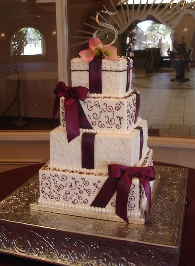 Burgundy Scrolls and Bows