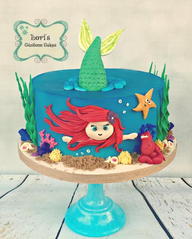 Swell Little Mermaid Birthday Cake Cake By Lori Mahoney Cakesdecor Funny Birthday Cards Online Alyptdamsfinfo