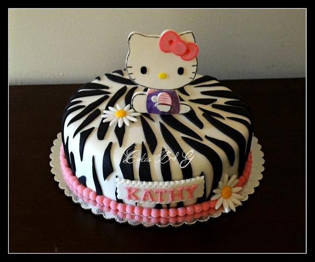 Hello Kitty Zebra Print Cake