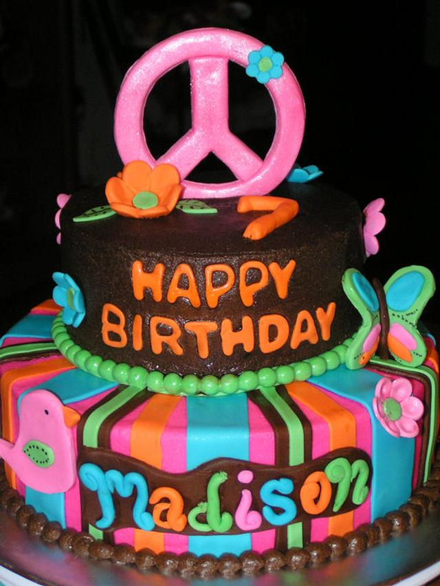 Miraculous Hippie Chick Themed Birthday Cake By Cake Creations By Cakesdecor Funny Birthday Cards Online Unhofree Goldxyz