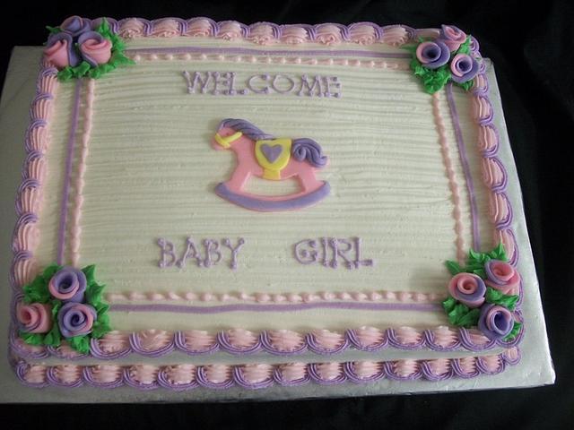 Rocking Horse Baby Shower Sheet Cake