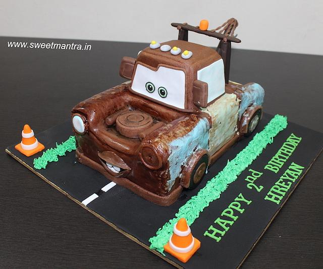 Remarkable Mater Tow Truck Shaped Theme 3D Cake For 2Nd Birthday Cakesdecor Funny Birthday Cards Online Bapapcheapnameinfo