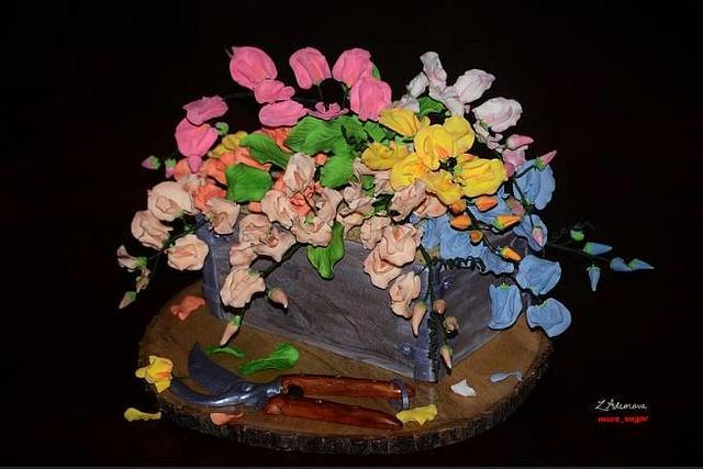 Sweet pea garden cake