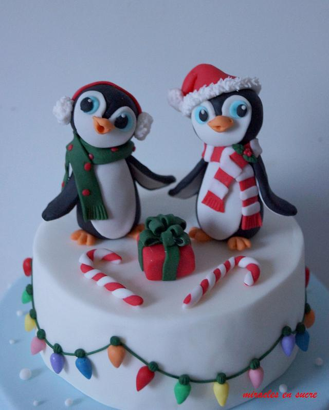 christmas cake with penguin topper