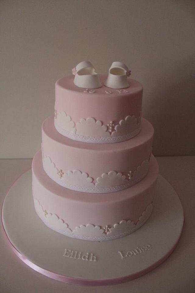 3 tier girls shoes christening cake
