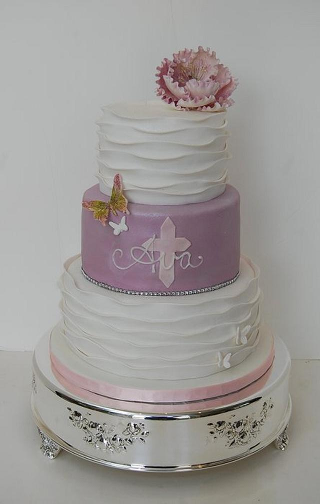 Ruffled Communion Cake
