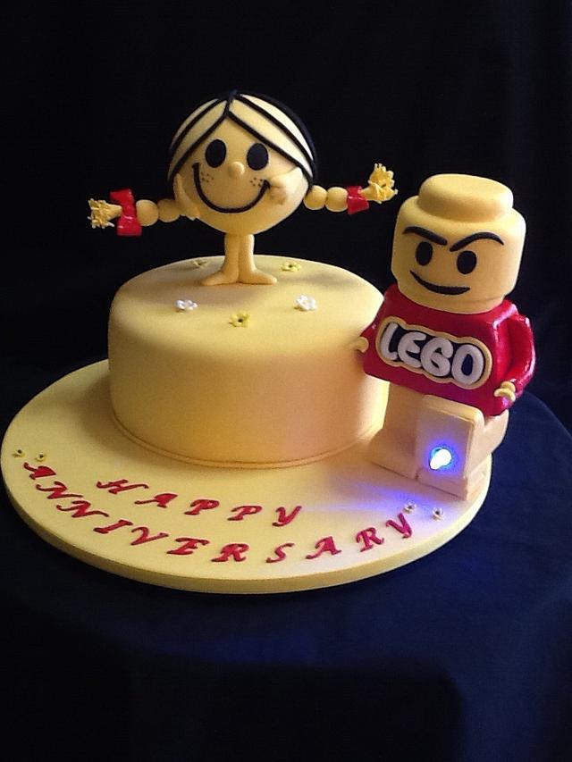 Little Miss Sunshine & Lego man cake