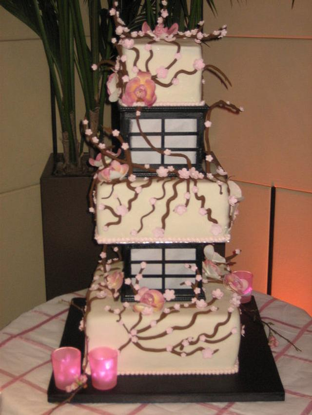 Orchid and Cherry blossom LIghted Lantern Cake - Wedding