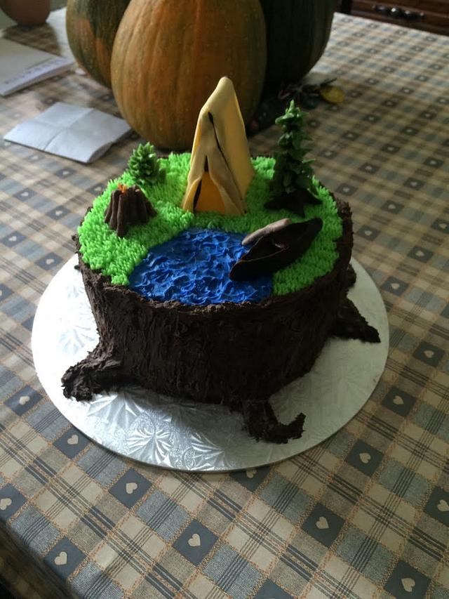 Super Camping Birthday Cake Cake By Kerry Cakesdecor Personalised Birthday Cards Cominlily Jamesorg