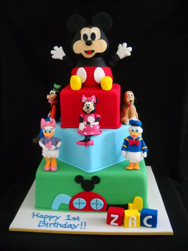 Fantastic Mickey Mouse Clubhouse 1St Birthday Cake By Cakesdecor Personalised Birthday Cards Veneteletsinfo