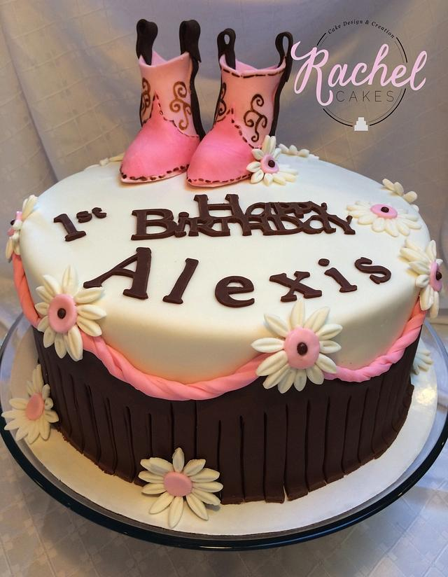 Fine Cowgirl Birthday Cake By Rachel Cakes Cakesdecor Personalised Birthday Cards Bromeletsinfo