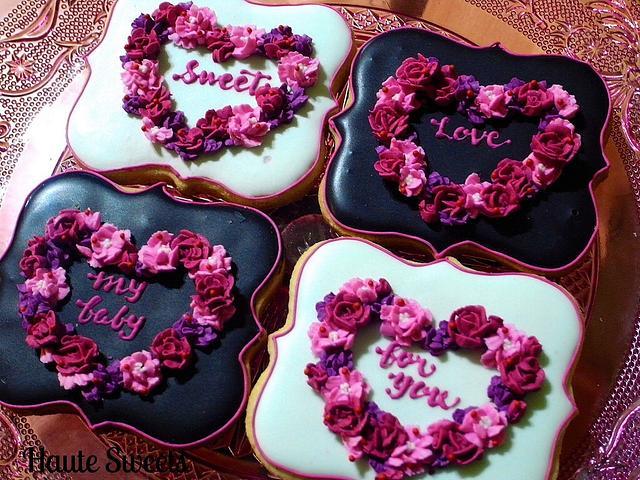 Valentine Heart Wreath Cookies