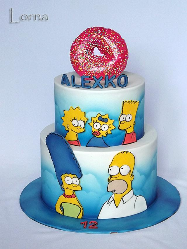 Surprising The Simpsons Family Cake By Lorna Cakesdecor Funny Birthday Cards Online Alyptdamsfinfo