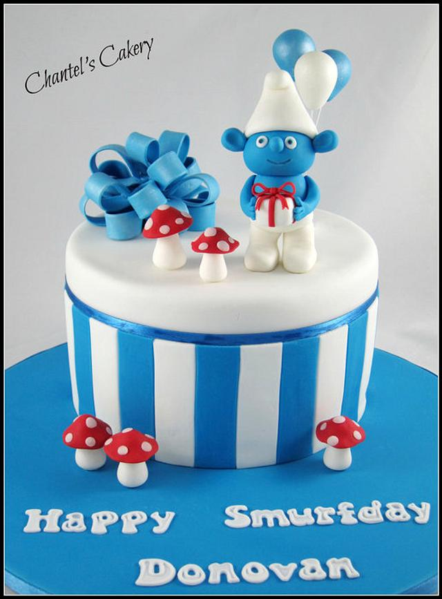Outstanding Smurf Birthday Cake Cake By Chantels Cakery Cakesdecor Funny Birthday Cards Online Overcheapnameinfo
