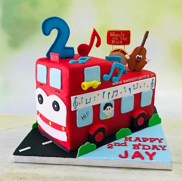 Miraculous Wheels On The Bus Shaped 3D Cake For 2Nd Birthday Cake Cakesdecor Funny Birthday Cards Online Barepcheapnameinfo