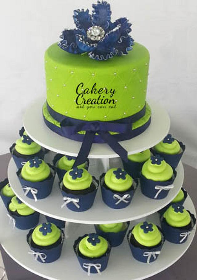 Lime green and Navy cake and cupcake tower