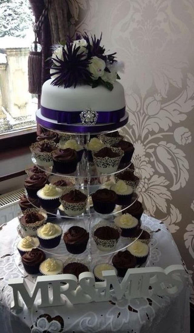 Purple Cupcake Tower