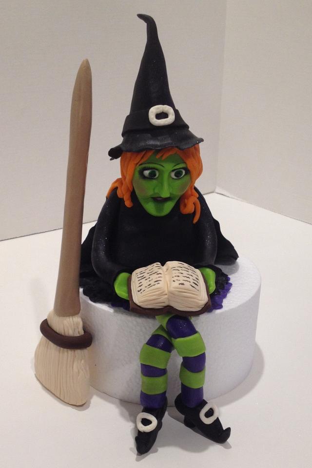 Fondant witch cake topper