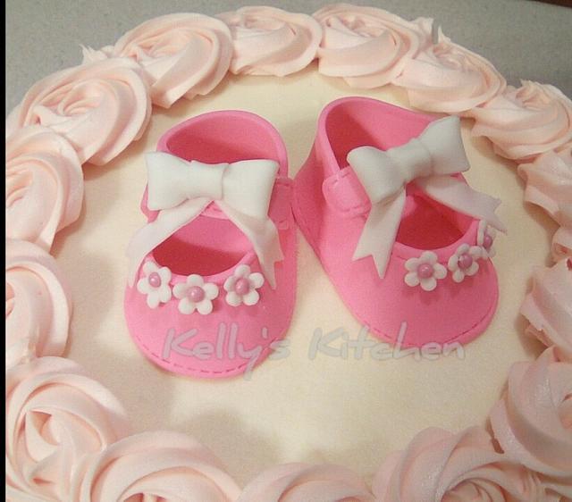 Buttercream rosette baby shower cake