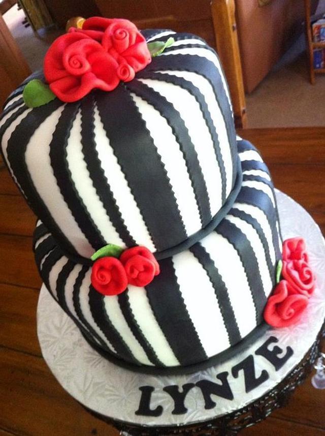 Black & White Stripes with Ribbon Roses