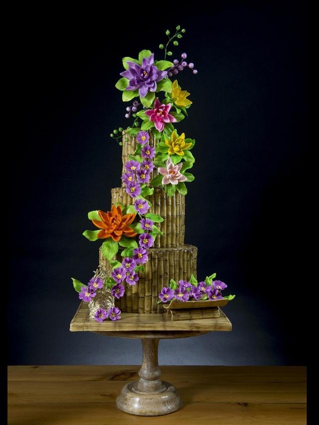 Bamboo and Flowers Cake - Vesak Festival