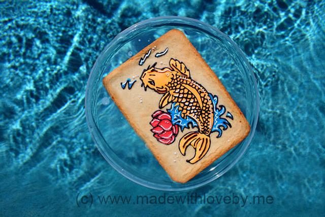 Japanese inspired flooded Koi cookie slab