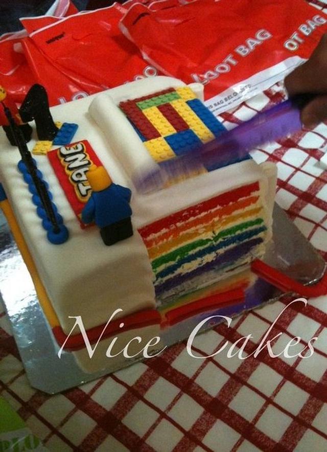 lego inspired rainbow cake