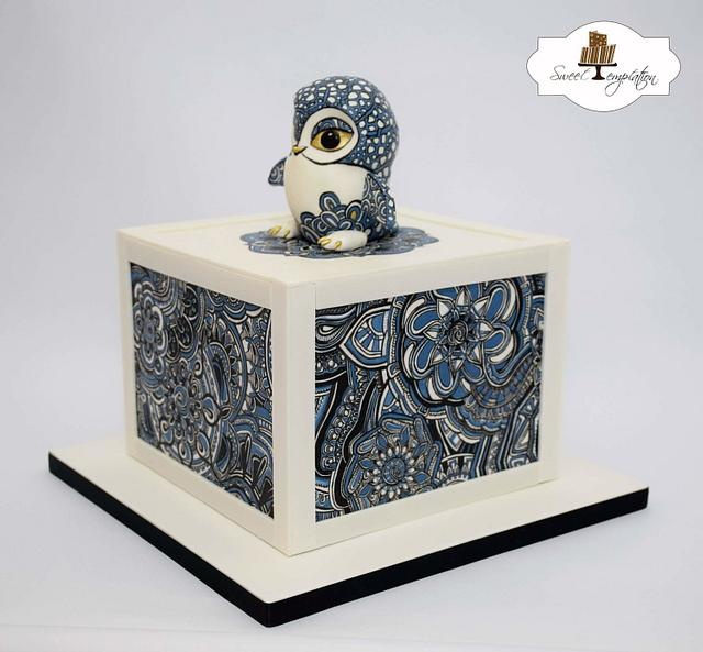 Zentangle Owl Cake