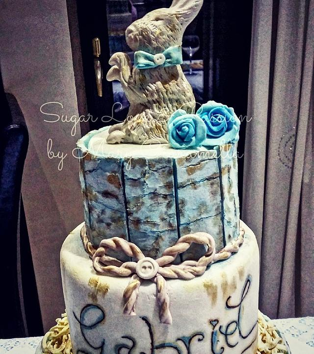 My Son's Baptism - Crackled cake