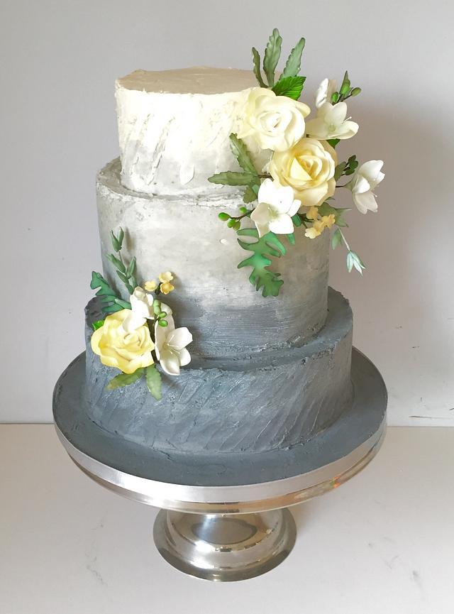 Yellow & grey ombré wedding cake