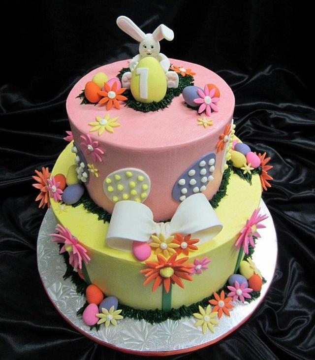 Easter themed 1st birthday cake