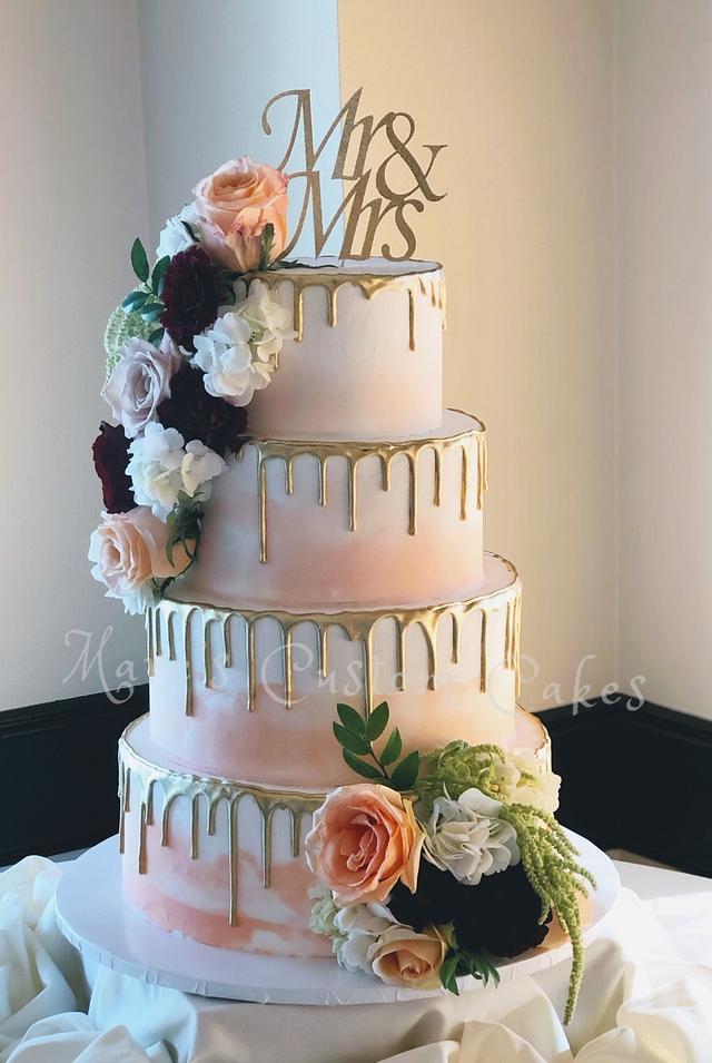 Golden Drip Wedding Cake