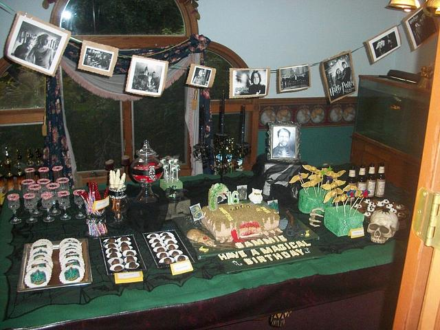 Harry Potter cake and candy buffet