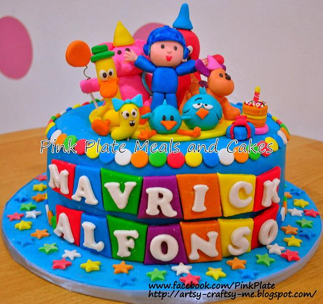Super Pocoyo And Friends Birthday Cake Cake By Pink Plate Cakesdecor Funny Birthday Cards Online Elaedamsfinfo