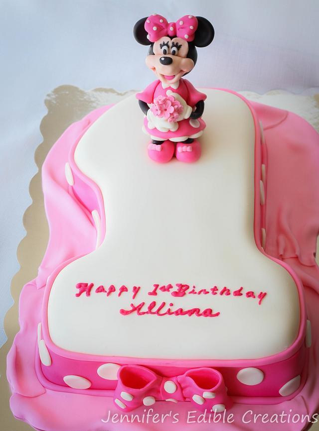 Wondrous Minnie Mouse First Birthday Cake Cake By Jennifers Cakesdecor Funny Birthday Cards Online Alyptdamsfinfo