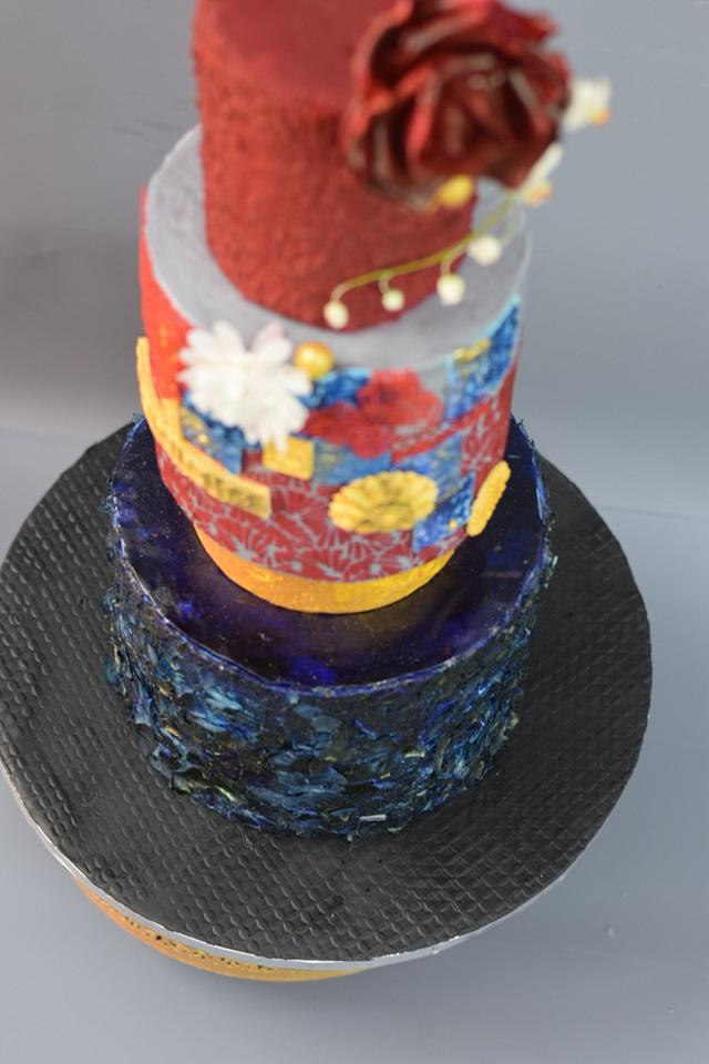 Red blue and bold cake.