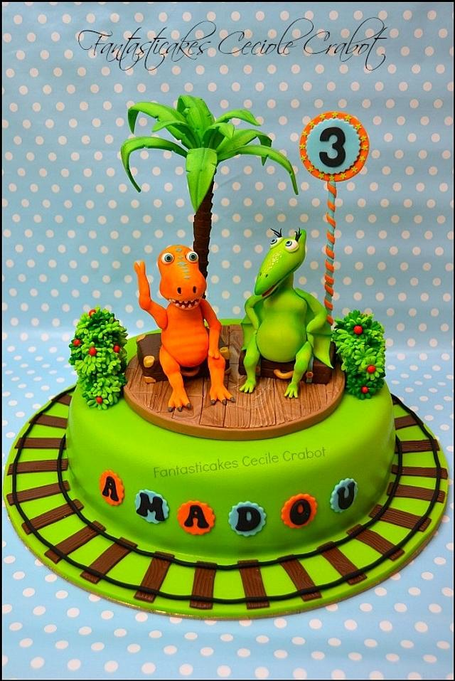 Awesome Dinosaur Train Cake Cake By Cecile Crabot Cakesdecor Funny Birthday Cards Online Alyptdamsfinfo