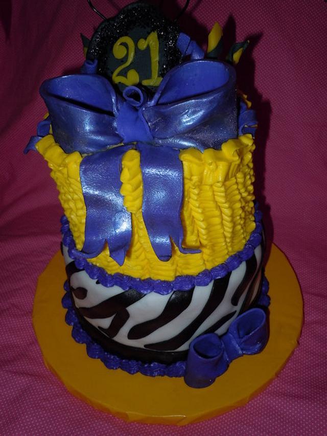 21st Birthday, Ruffles & Zebra Cake