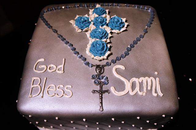 Silver Baptism Cake