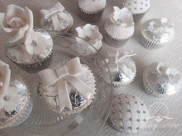 Silver Wedding Anniversary Cupcakes Cake By Lindsay Cakesdecor