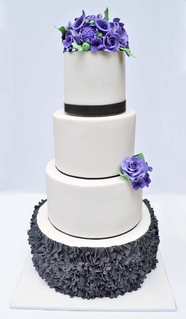 Extended four tier wedding cake