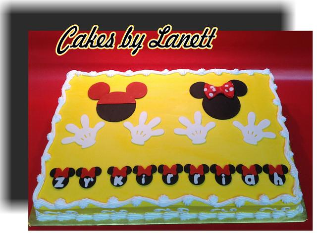 Admirable Mickey Minnie Birthday Sheet Cake Cake By Lanett Cakesdecor Funny Birthday Cards Online Hendilapandamsfinfo