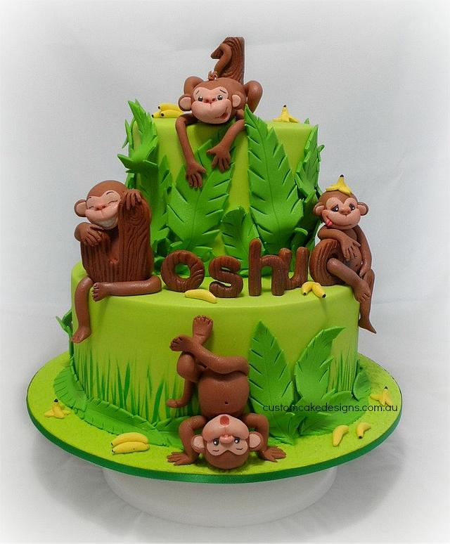 Peachy Cheeky Monkeys 1St Birthday Cake Cake By Custom Cake Cakesdecor Funny Birthday Cards Online Alyptdamsfinfo