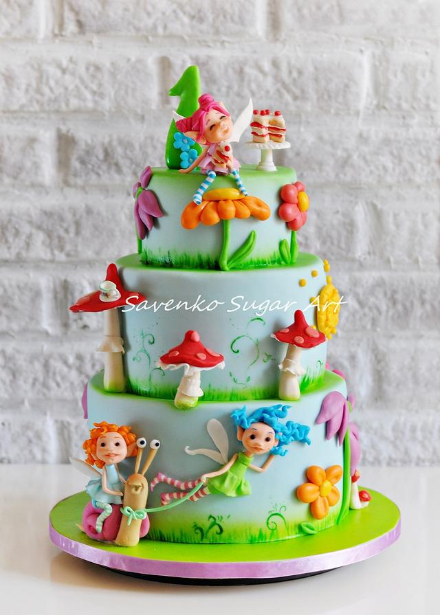 Garden fairies rush to a birthday. :)