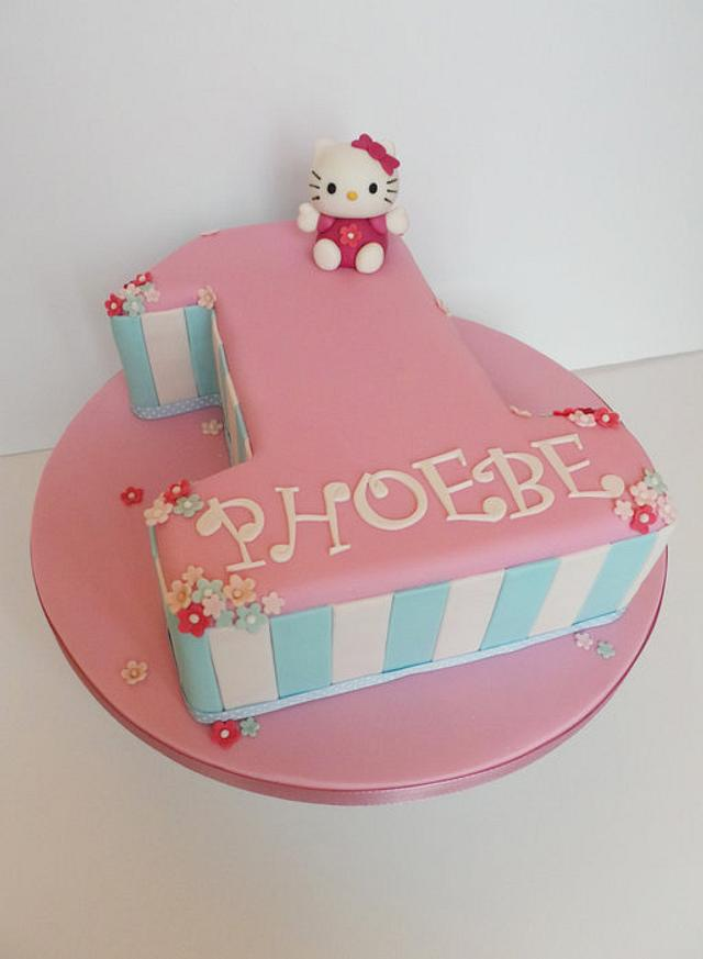 Astounding Hello Kitty 1St Birthday Cake By Helen Ward Cakesdecor Personalised Birthday Cards Veneteletsinfo