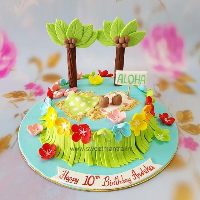 Fabulous Hawaii Aloha Beach Theme Customized Designer Fondant Cake Cakesdecor Funny Birthday Cards Online Kookostrdamsfinfo