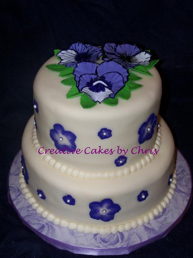 Phenomenal Pansy Birthday Cake Cake By Creative Cakes By Chris Cakesdecor Personalised Birthday Cards Sponlily Jamesorg